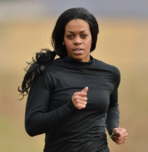 black woman jogging
