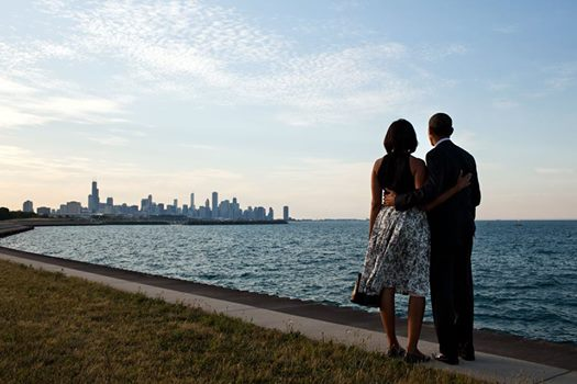 the obamas on lake michigan