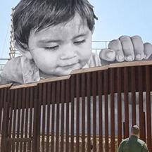 child at wall